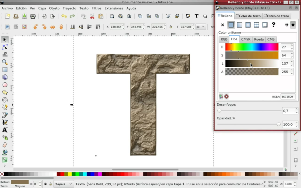 How to create text with Stone texture with Inkscape